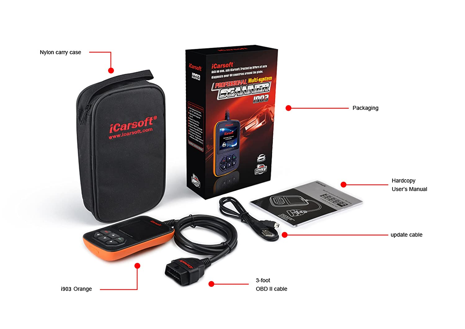 Amazon.com: iCarsoft i903 OBD2 Engine Vehicle Diagnostic Tool Code Fault  Multi-System OBD-II Scanner compatible with NISSAN / INFINITY / SUBARU:  Automotive