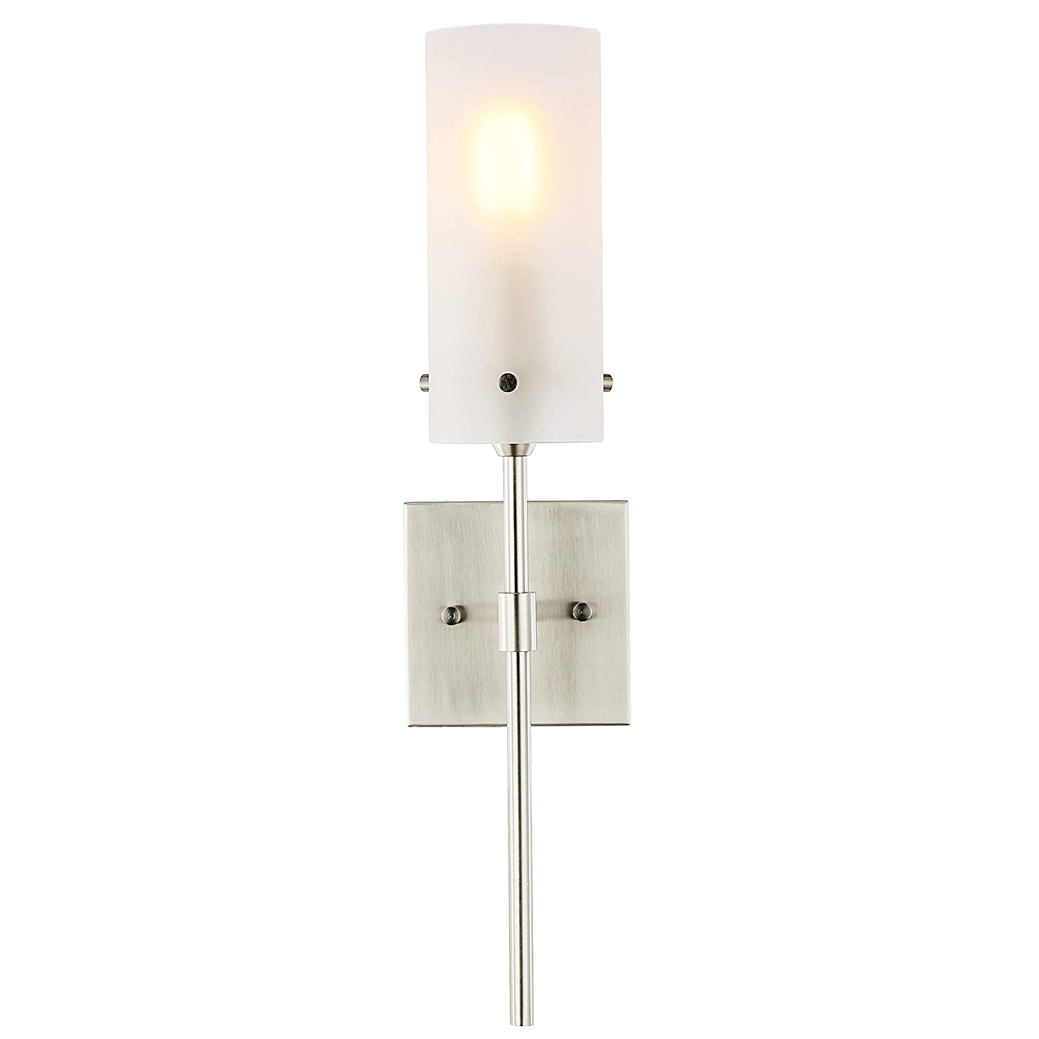LS-W238-SN-FR Contemporary Minimalist Modern Lighting Fixture Light Society Montreal Cylindrical Wall Sconce Satin Nickel with Frosted Glass Shade
