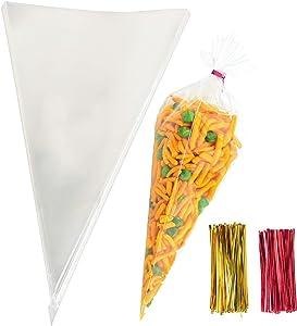 Cone Cellophane Bags,200 PCS 6.3