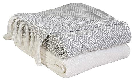 EHC Par de Mantas de algodón para sofá, Manta de Silla, 127 x 152 cm, 2 Unidades, Color Marfil/Gris