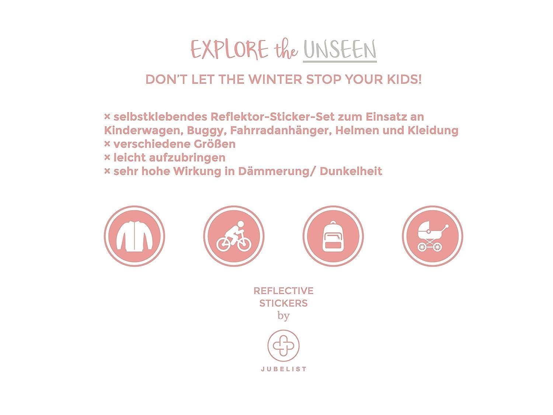 JUBELIST kids Universal Reflektor Set f/ür Buggy Helme und Bekleidung ★ 15 Leuchtsticker in silber Kinderwagen Sterne Fahrradanh/änger