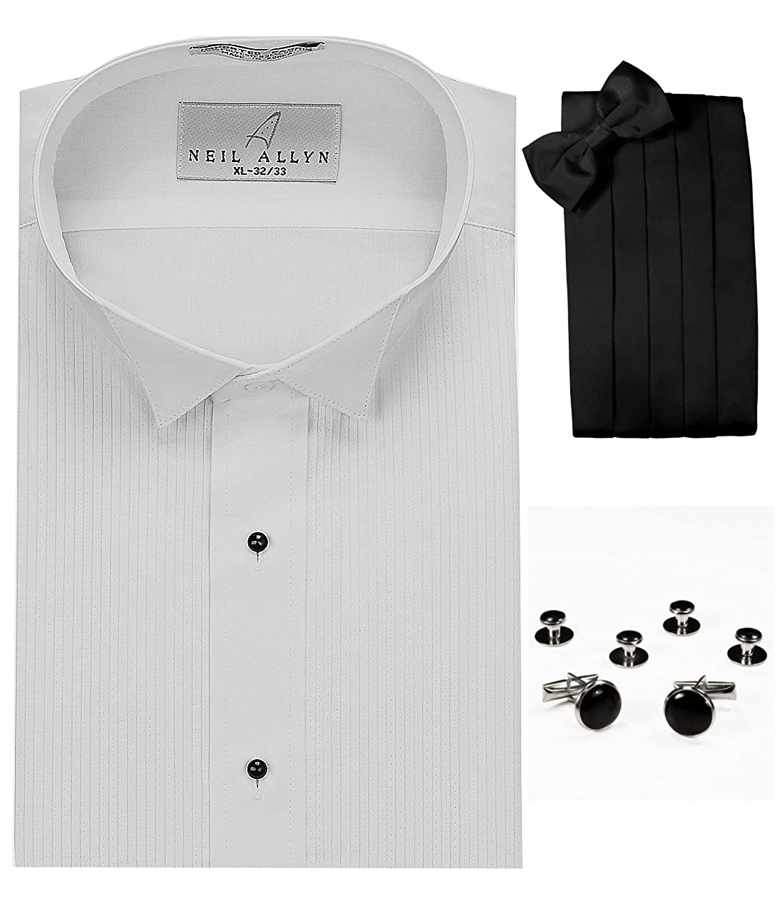 Neil Allyn Wing Collar Tuxedo Shirt, Cummerbund, Bow-Tie, Cuff Links & Studs Set