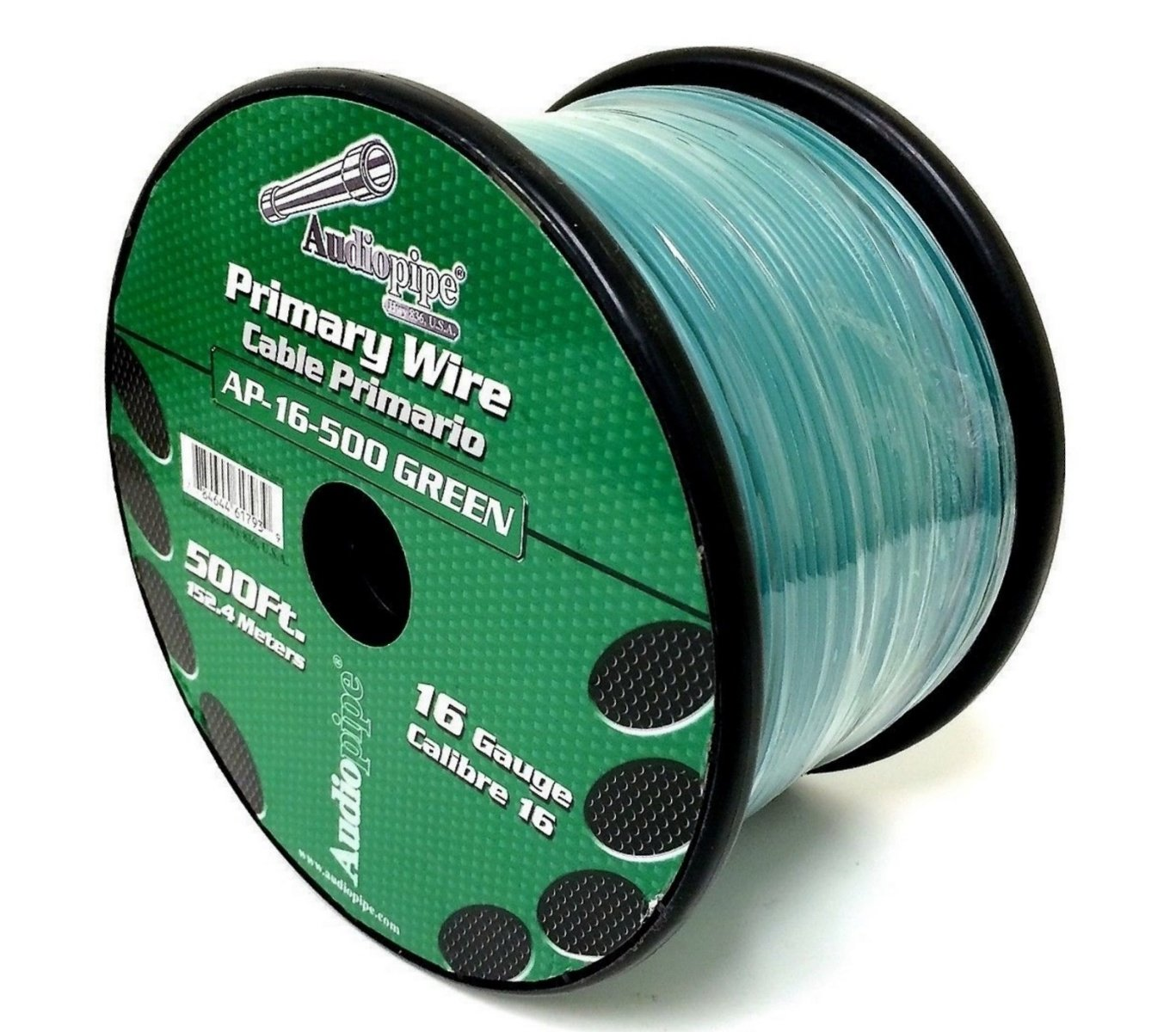 Audiopipe 500' Feet 16 GA Gauge Green Primary Remote Wire Car Power Cable by Audiopipe