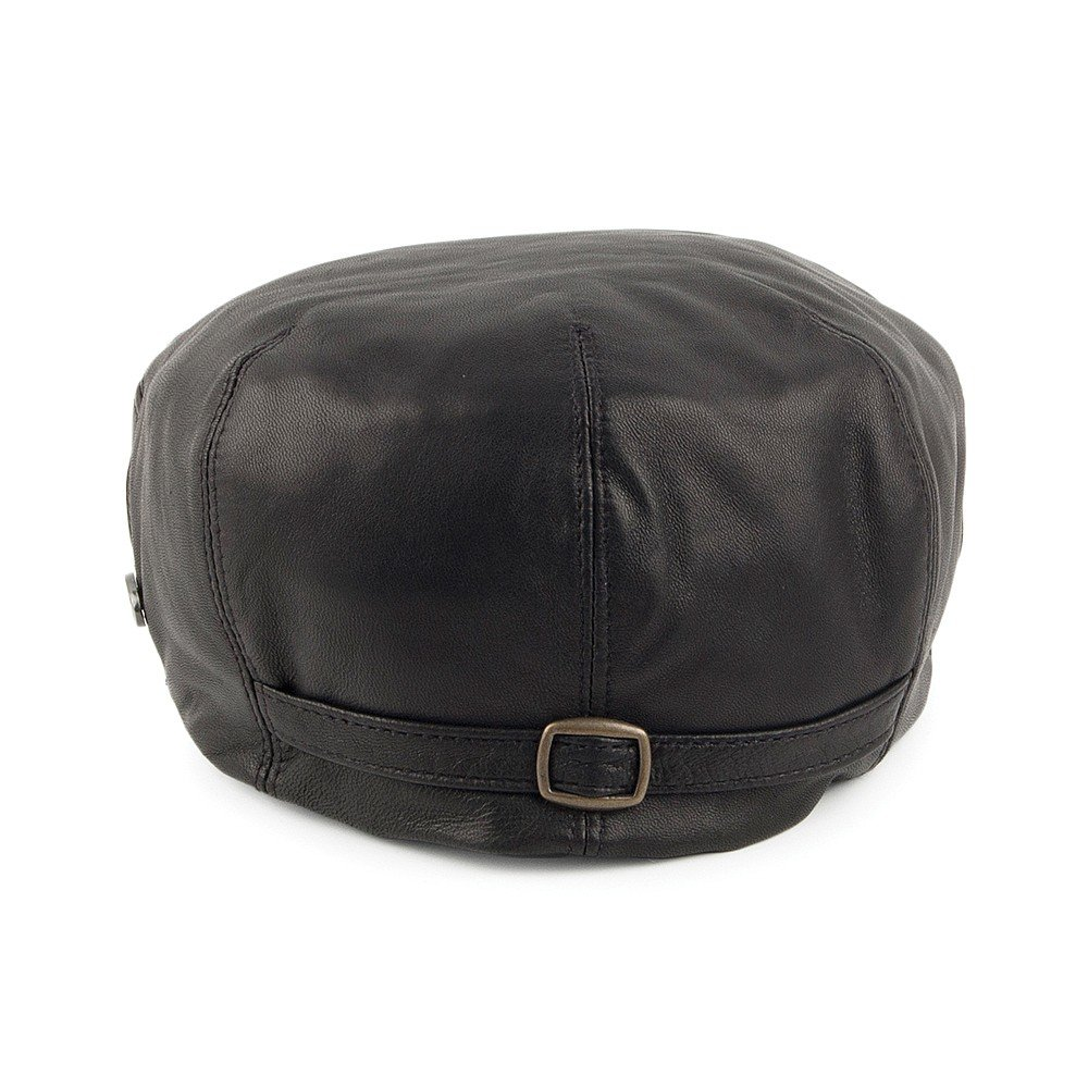 ac6b8aa49228f Bailey Hats Stockton Leather Flat Cap - Black  Amazon.co.uk  Clothing