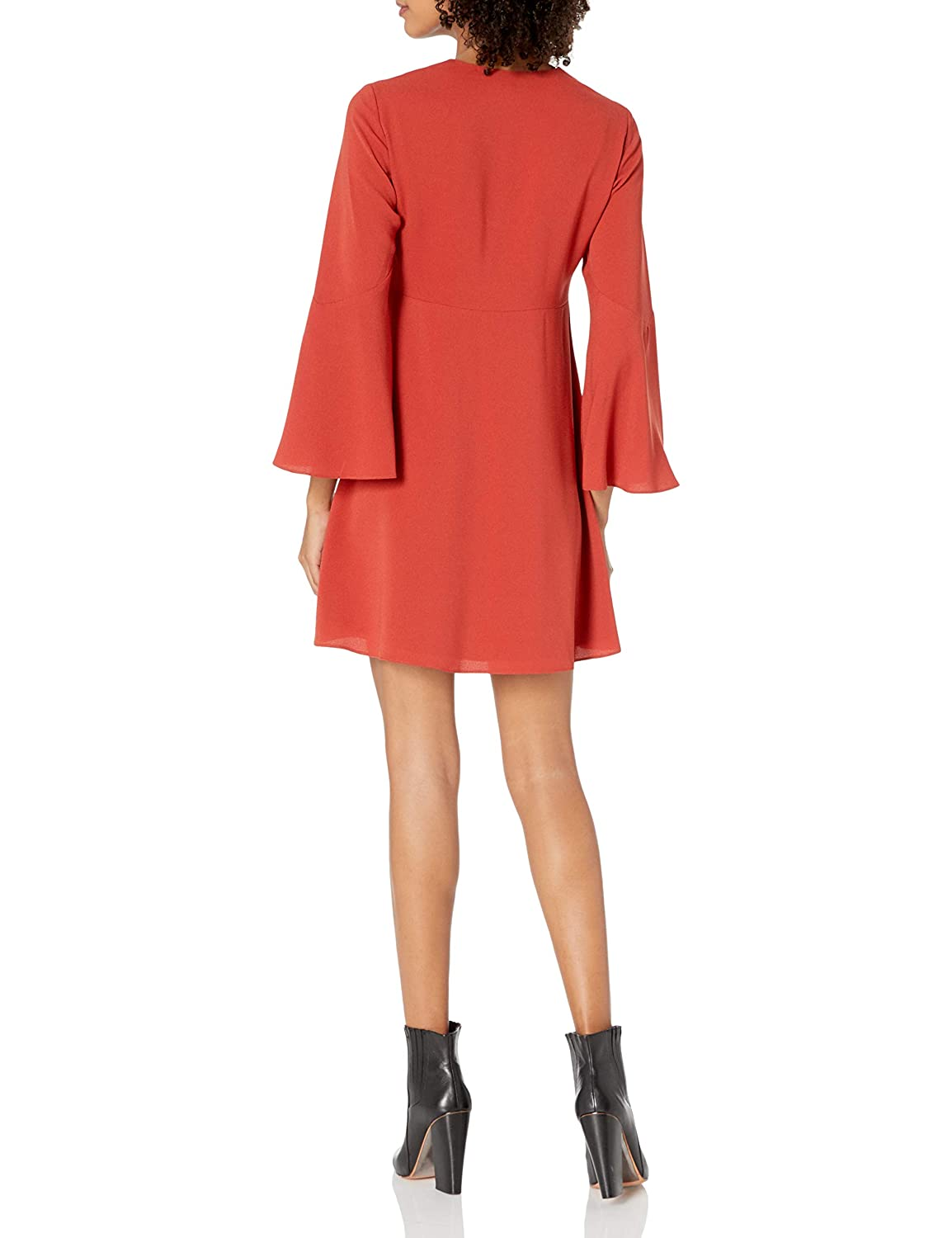 Halston Heritage Womens Long Bell Sleeve Deep V Neck Dress with Shirring and Beads