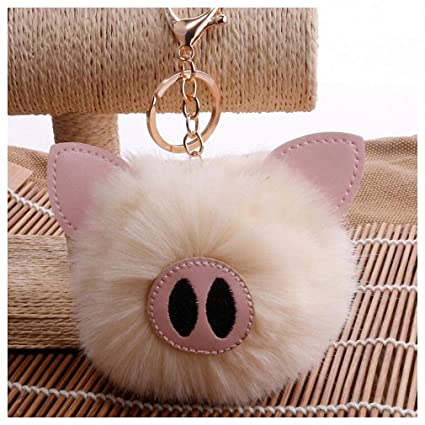 Amazon.com: Womens Mens Keychain Cute Piggy Pompom Rabbit ...