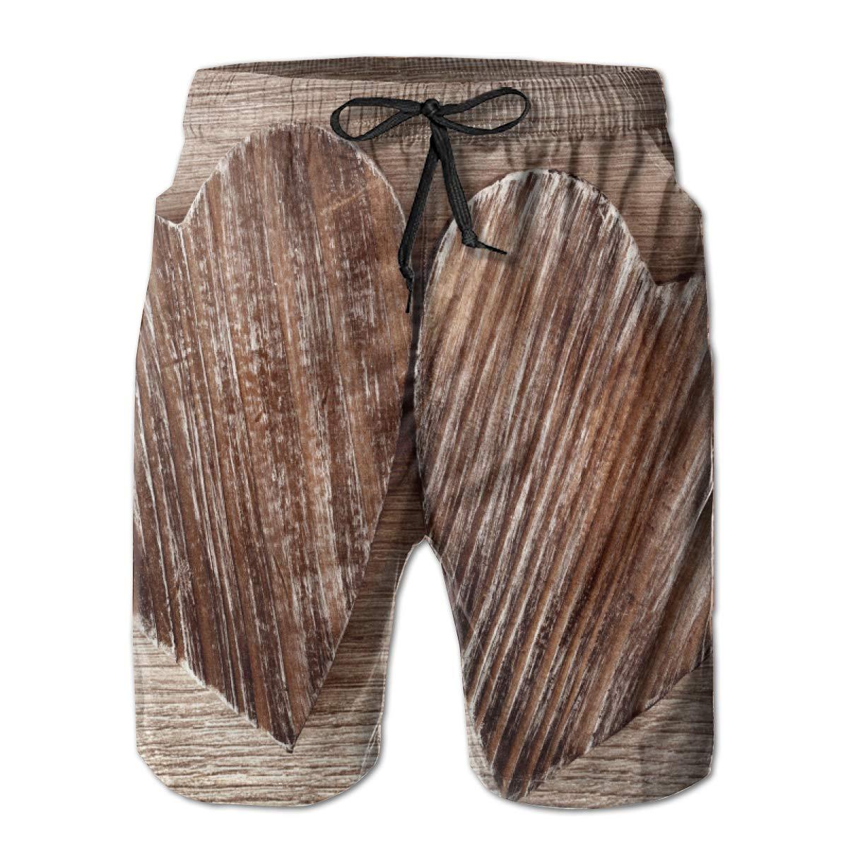 Galaxy Voyage Wood Grain Heart Shape Boy Men S Swim Trunks Surf Pants 3D Swimming Trunks Board Shorts for Men