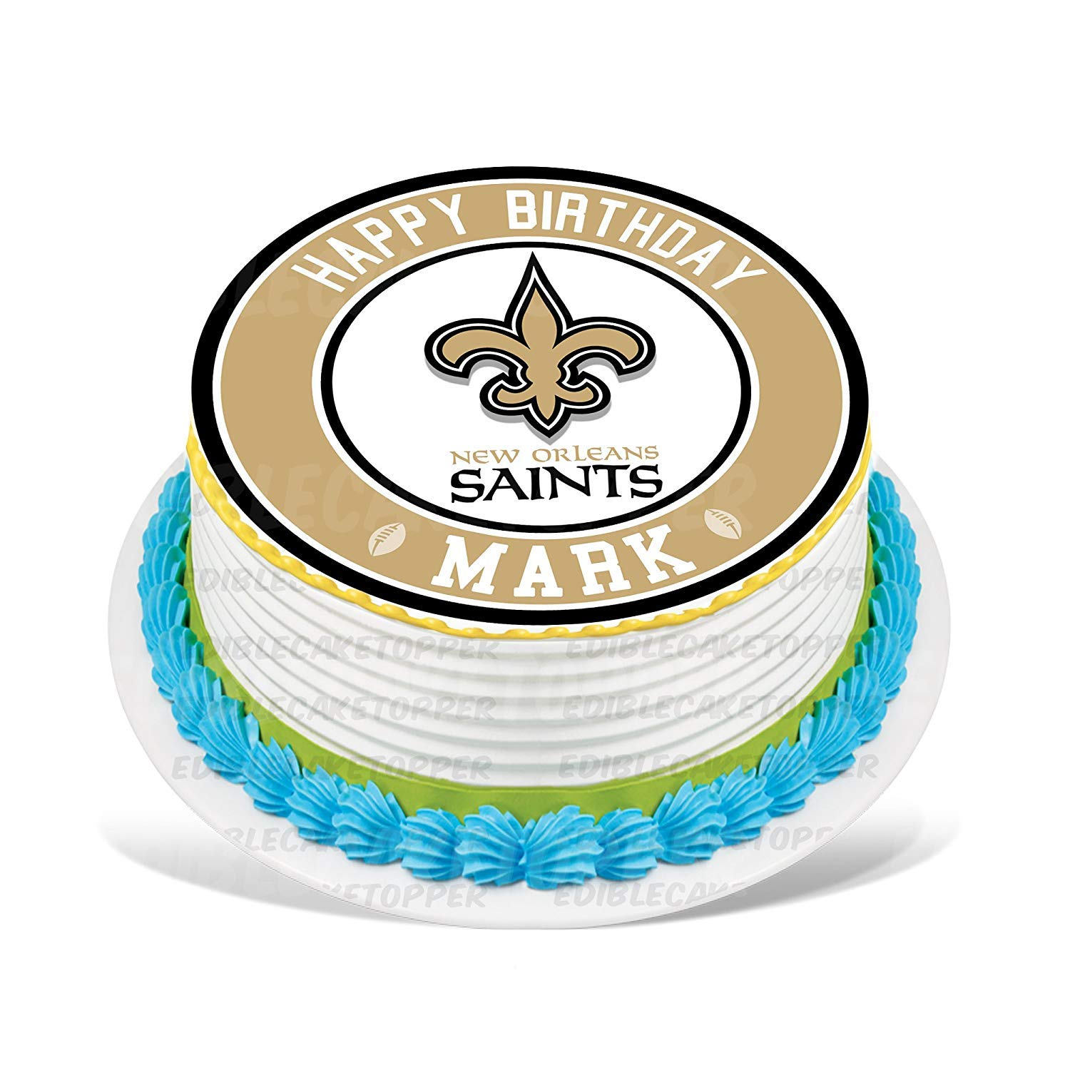 New Orleans Saints Edible Cake Topper Personalized Birthday 10 Round Circle Decoration Party Sugar Frosting Transfer Fondant Image Best Quality