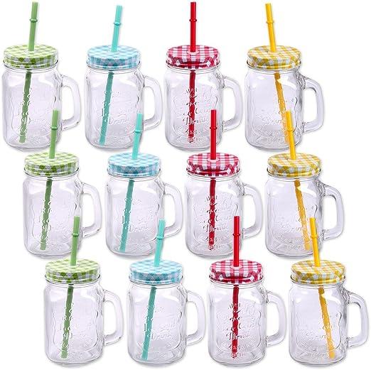 Schramm® Pack de 12 Vasos con Tapa, asa y Pajita Vasos de Cristal con Pajita para Beber cóctel de Cristal 500ml Jarra para Beber Vintage Terraza Retro del jardín ...