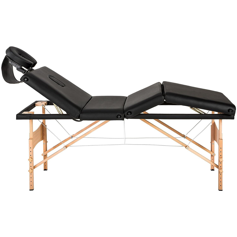 tectake 800210 Table de Massage 4 Zones Pliante Cosmetique Lit de Massage Portable Blanc | No. 401767 Housse de Transport diverses Couleurs au Choix