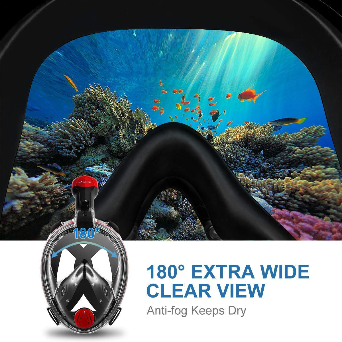 Foldable Snorkeling Mask with Detachable Camera Mount 180/° Panoramic View Diving Mask Dry Top Set Anti-Fog Anti-Leak for Adults and Kids MOVTOTOP Full Face Snorkel Mask