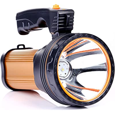 Römer LED Rechargeable Handheld Searchlight High-power Super Bright 9000 MA 6000 LUMENS CREE Tactical Spotlight Torch Lantern Flashlight (oro)