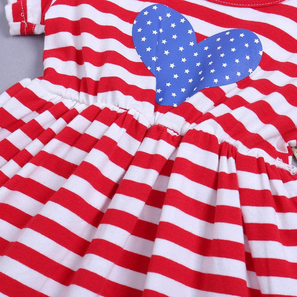 QixinWluo Toddler Kids Girl Independence Day Clothes 4th of July Flag Stars Striped Print Short Sleeve Dress