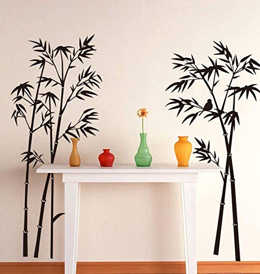 Amazon Com Handmadejewel Vinyl Removable Easy To Peel Easy To Stick Safe On Painted Walls Black Beautiful Bamboo Tree Black Wall Stickers Wall Decals Room Home Decor Home Kitchen