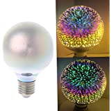 Misright E27 G80 Colourful 3D Star Shine Decoration LED Light Bulb Multiple Reflection Alluminum Plated Glass
