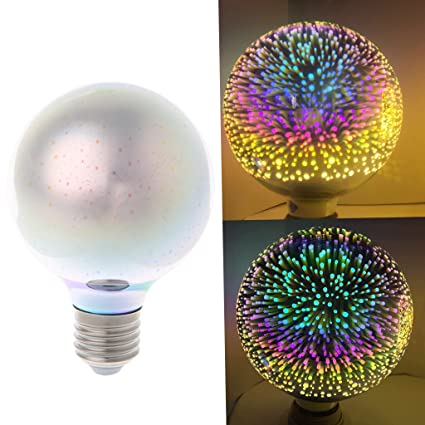 Amazon.com : Misright E27 G80 Colourful 3D Star Shine Decoration LED Light Bulb Multiple Reflection Alluminum Plated Glass : Garden & Outdoor