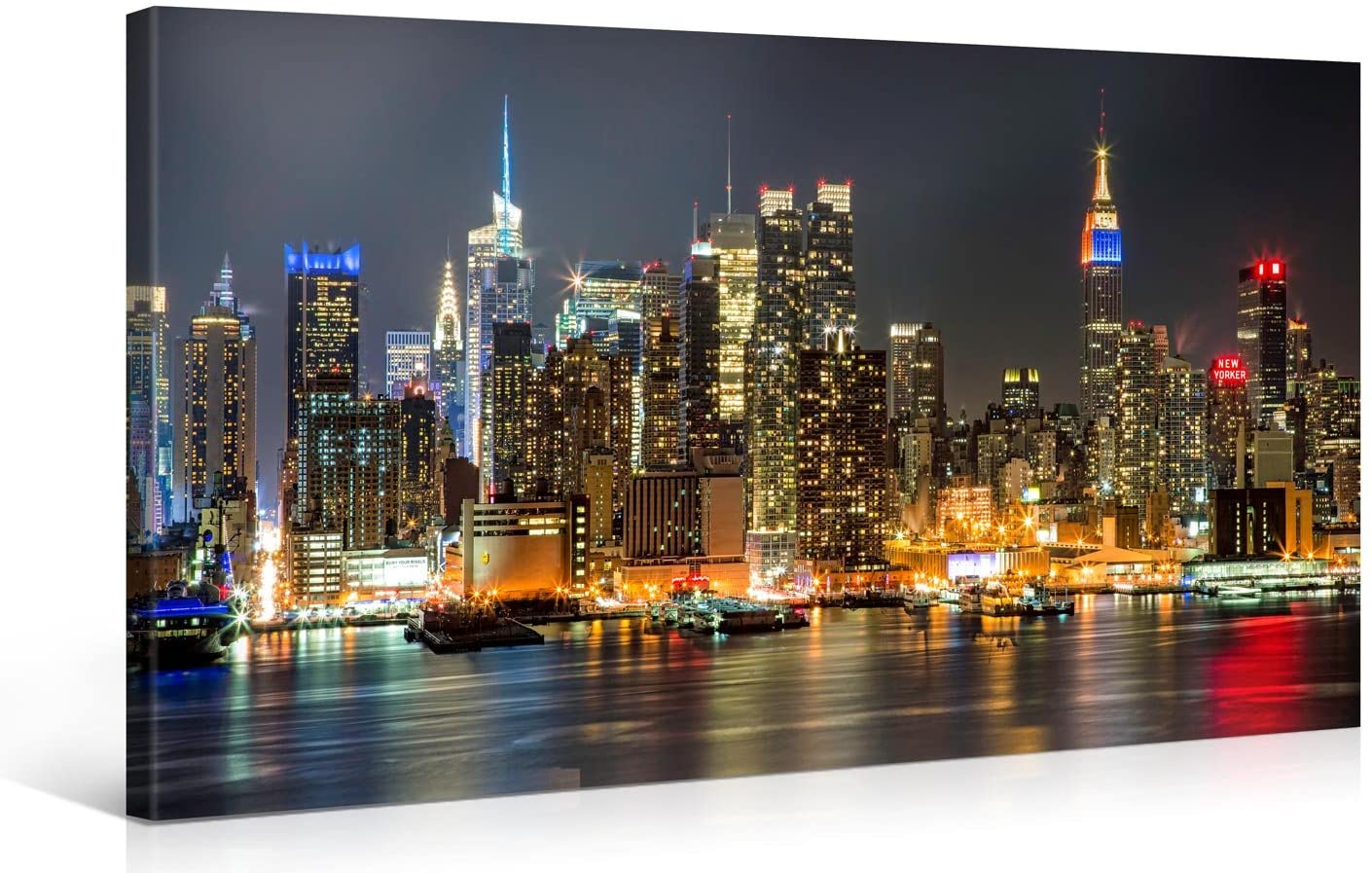 Amazon Com Large Canvas Print Wall Art Manhattan Night Lights 40 X 20 Inch Canvas Picture Stretched On Wooden Frame New York City Cityscape Giclee Canvas Printing Hanging Wall