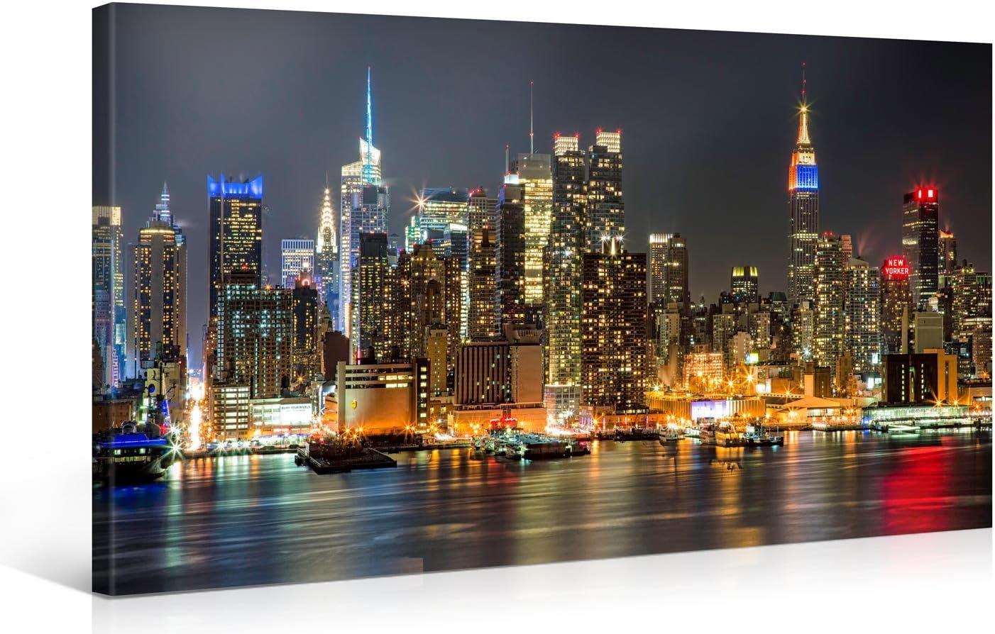 Gallery of Innovative Art - ILLUMINATED MANHATTAN NEW YORK 100x50cm #e4348 - Impresión Giclee en lienzo, foto lienzo Wall Art- Fotos en lienzo montadas sobre bastidor – Im?genes en lienzo XXL en alta