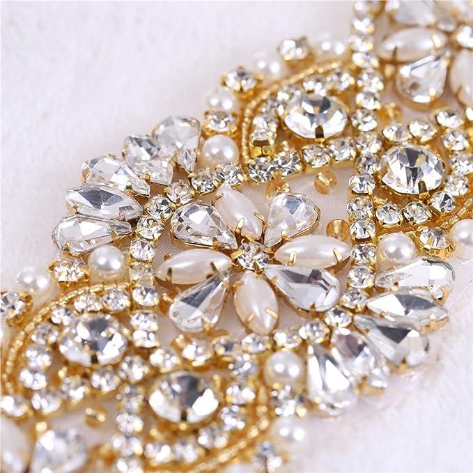 Cristales y Rhinestone De hierro-en Applique con las perlas para la boda  Correas nupciales Headpieces Ligas (oro con las perlas)  Amazon.es  Hogar 867ef5ccdde4