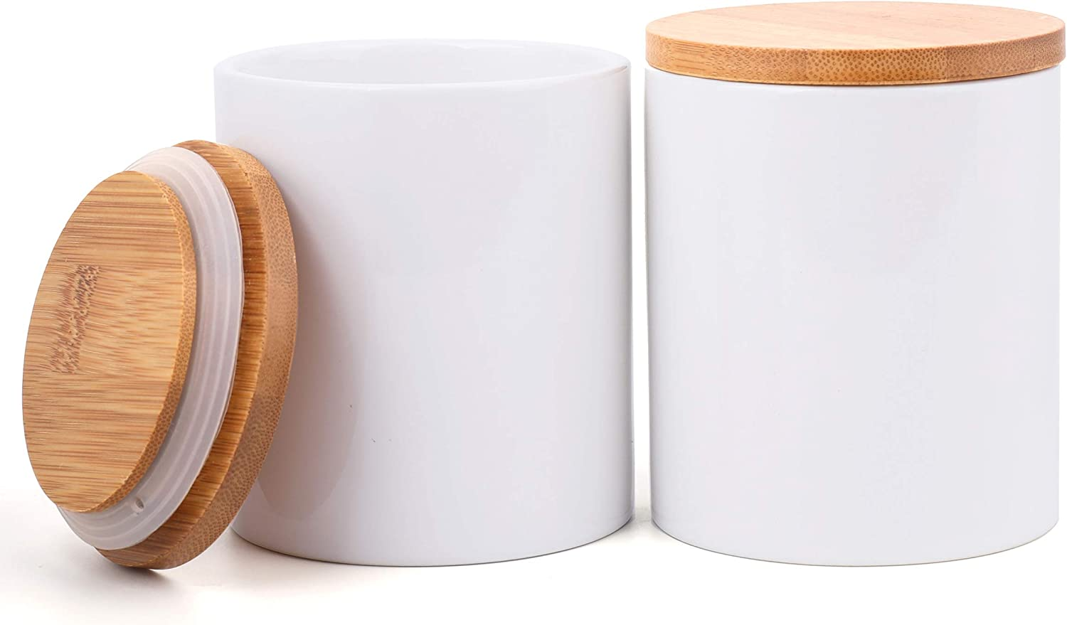Lawei 2 Pack Ceramic Food Storage Jar with Airtight Seal Bamboo Lid - 10 oz Ceramic Canister Storage jar Sugar Bowl Salt Container Coffee Tea Jar
