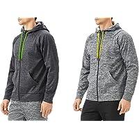 TEXFIT 2-Pack Men's Active Fleece Zip Up Hoodies with Front Pockets (2pcs Set)