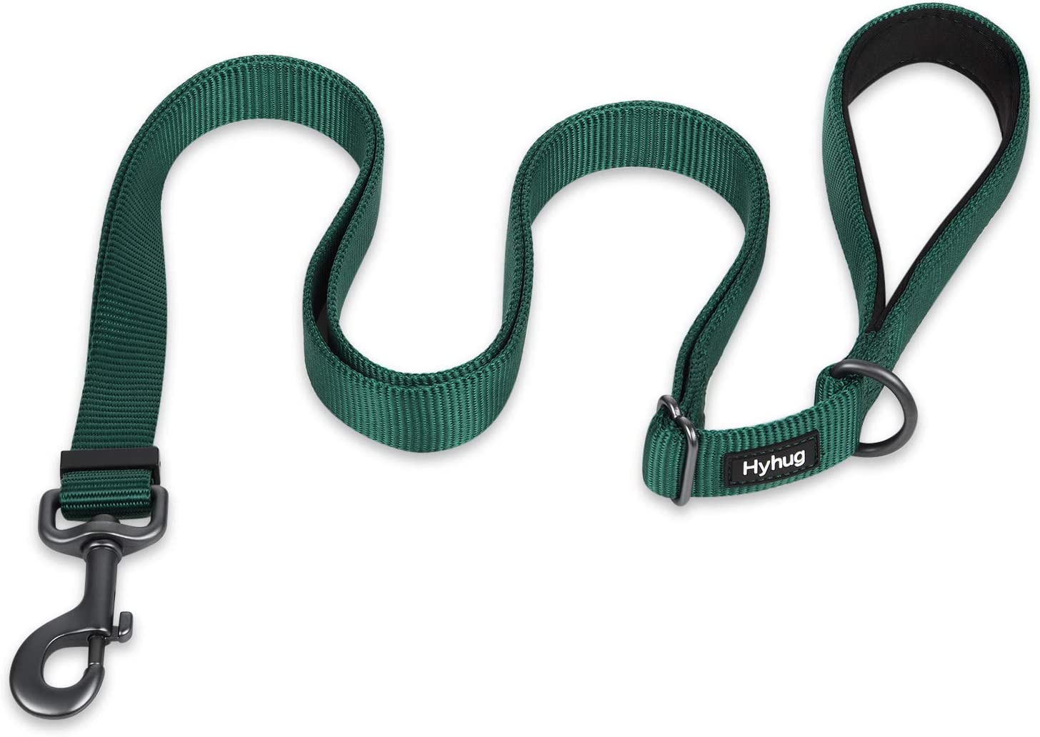 Hyhug Pets Upgraded Adjustable Between 4 Feet and 6 Feet Lead with Sturdy Nylon and Super Soft Neoprene lined Handle for Medium Large Giant Dogs. Large, Obsidian Black