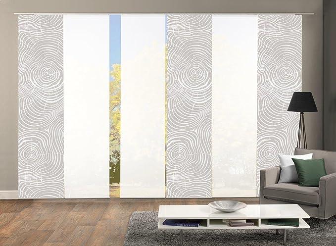 Home Fashion 96533 | 6er-Set Schiebegardinen Madera | blickdichter Dekostoff & Transparenter Halborganza | Farbe: Natur | 6X