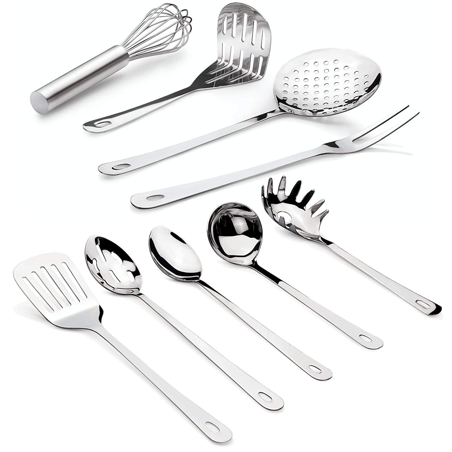 Complete 9 Piece Stainless Steel Cooking & Serving Set - Slotted Turner & Spoon, Solid Spoon, Large Fork, Ladle, Skimmer, Whisk, Potato Masher & Pasta Server - Heavy Gauge Durability - Mirror Finish