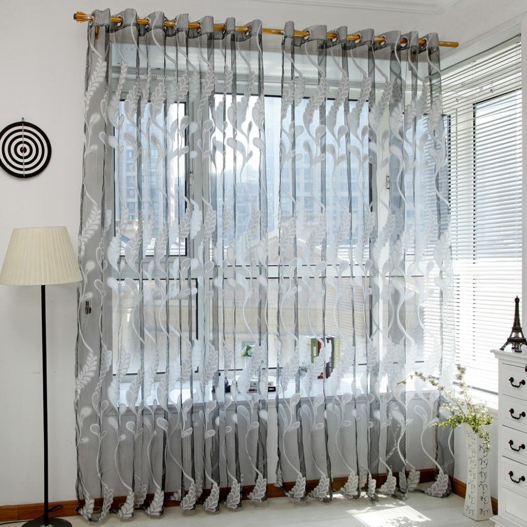 Pair Floral Tulle Voile Door Window Curtain Drape Panel Sheer Scarf Valances UK Curtains & Blinds