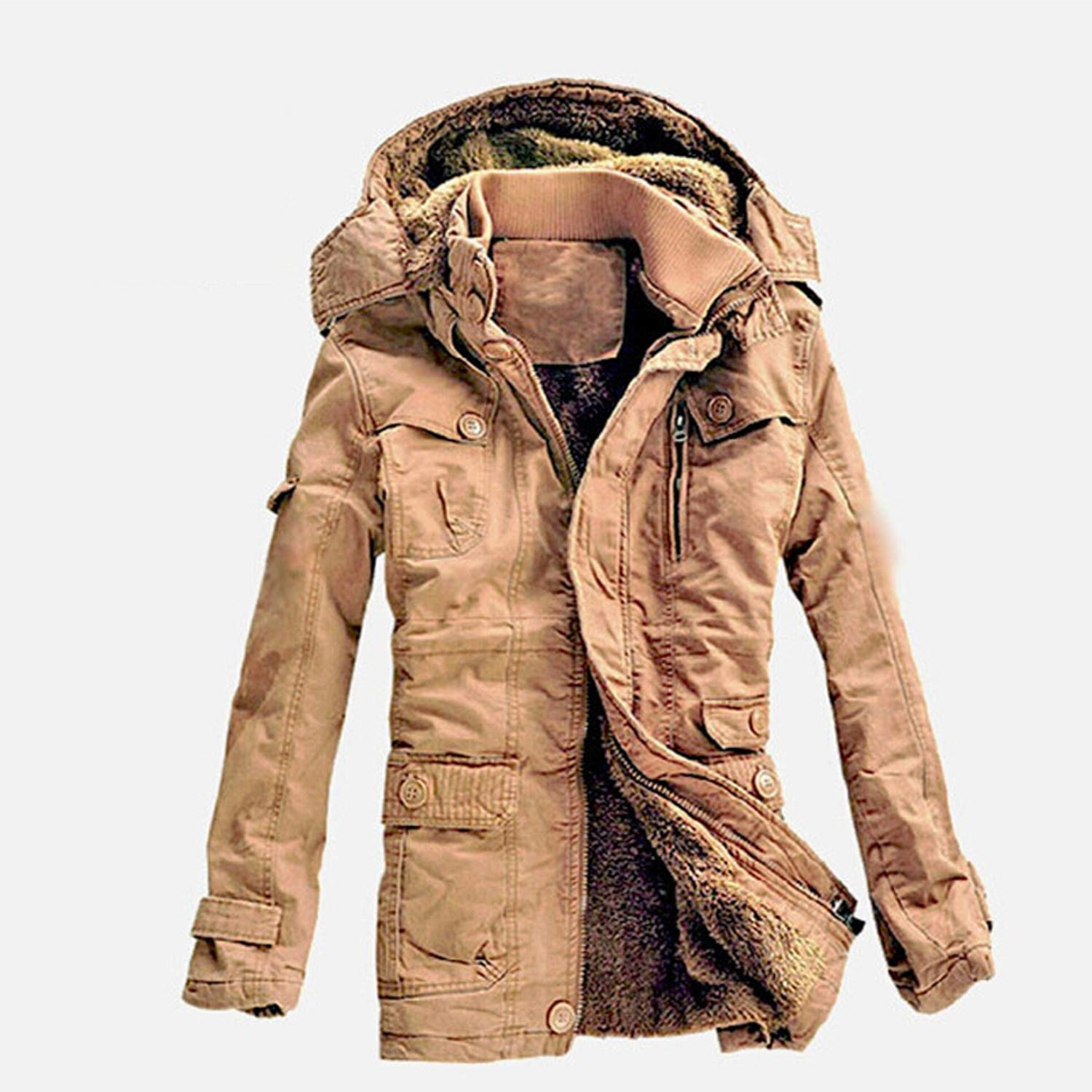 Men Outwear Breathable Warm Coat Parkas Thickening Casual Cotton-Padded Jacket Fleece Parkas