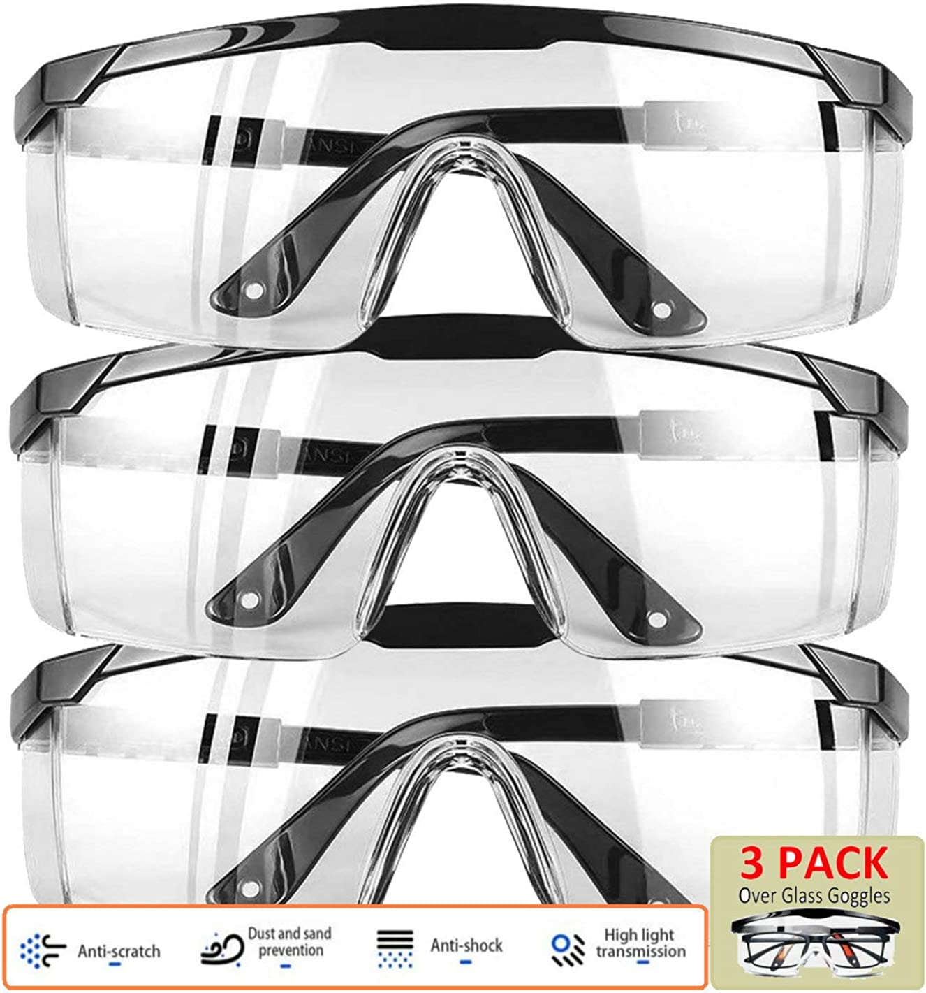3 PACK Safety Goggles,Eyes Protection Goggles Protective Eyewear Safety Goggles Clear Anti-droplet/Anti-Scratch Safety Glasses, Transparent Frame Black Color