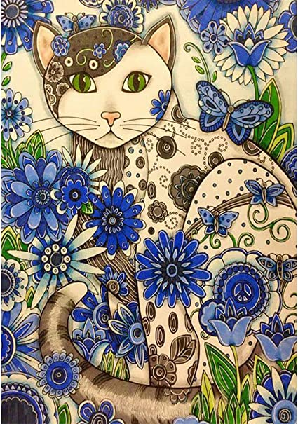 11.8X15.7inch Lxmsja 5D Diamond Painting for Adult DIY Round Full Paint with Beads Kits Cross Stitch Embroidery by Numbers Wall Decor Dog and Cat