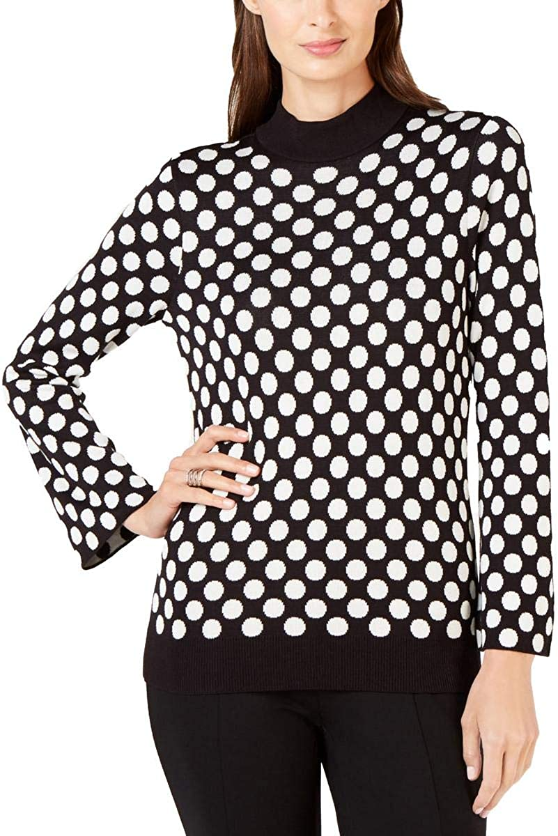 Alfani Womens Polka Dot Max 55% OFF Sweater Mock OFFer Cozy Turtleneck