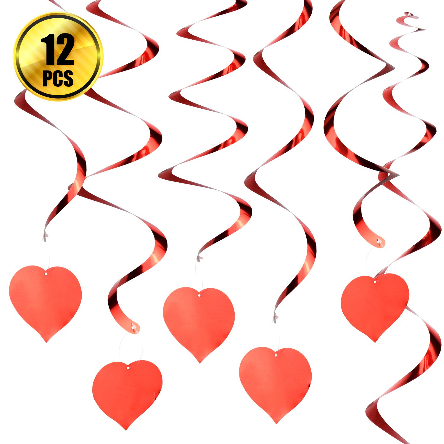 WXJ13 12 Pieces Red Foil Swirl Decorations Valentines Decorations Hanging Party Supplies for Wedding Shower Birthday Party Table Decor