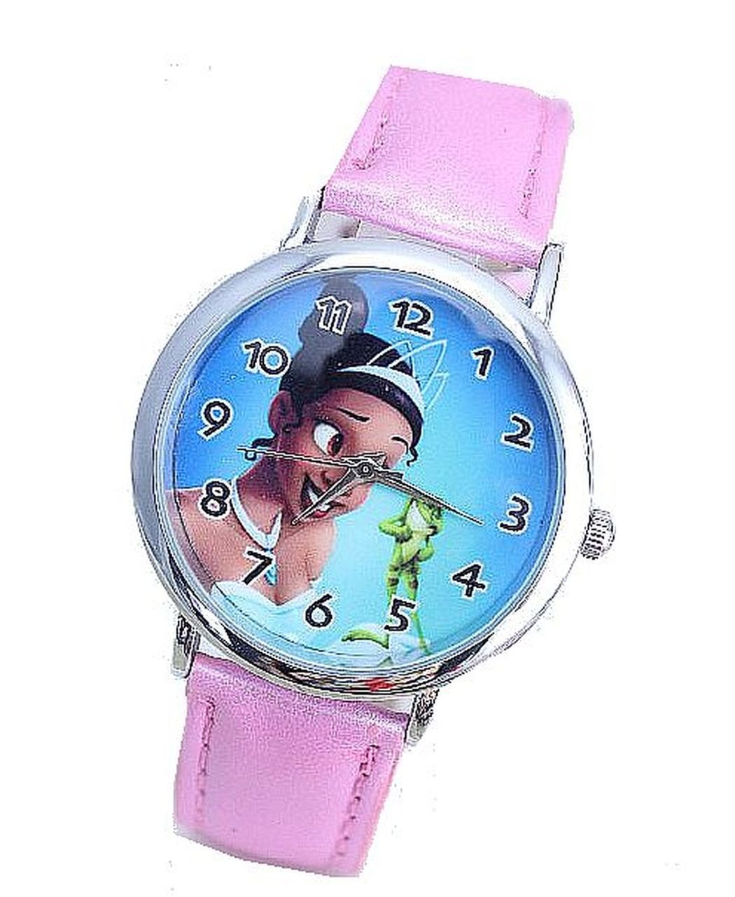 Disneys Princess and the Frog '' Tiana '' on a Girls Pink Leather Wrist Watch