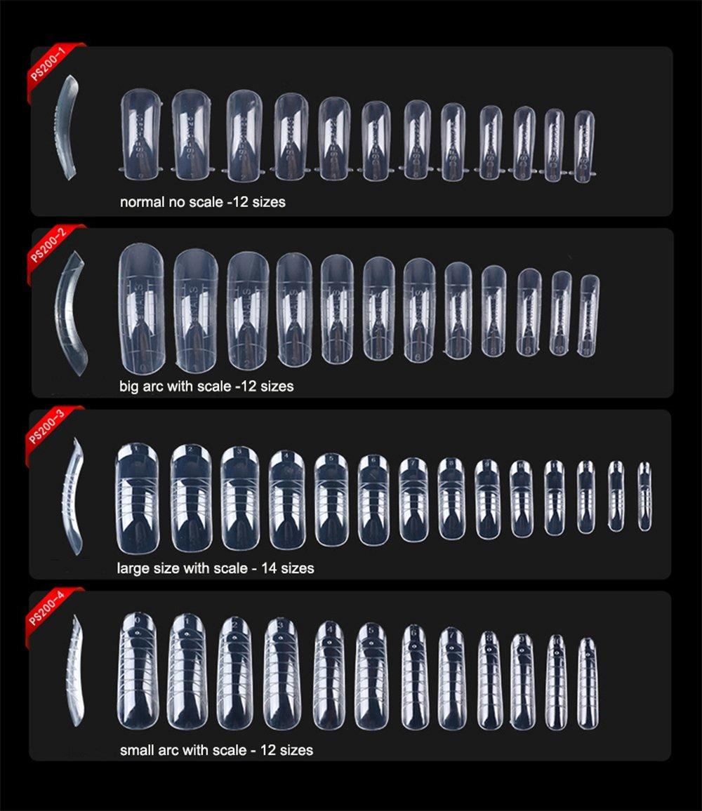 BoomYou Molde de uñas Falsas Sistema de uñas Full Cover Clear Dual Forms Uñas de uñas Artificiales acrílicas en Gel UV Arco pequeño de 12 tamaños con Escala ...