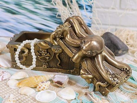 "6/"" Long Kraken Octopus Guarding Pirate Treasure Decorative Jewelry Box Figurine"