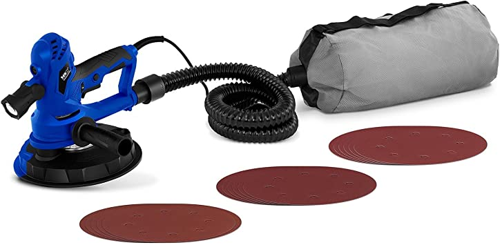 MSW Lijadora De Paredes Y Techos MSW-DWS750WB (750 W, 1300-2500 Tr/Min, Ø180 mm, 18 discos de lijado, Luz LED, tubo de aspiración, bolsa de polvo): Amazon.es: Bricolaje y herramientas