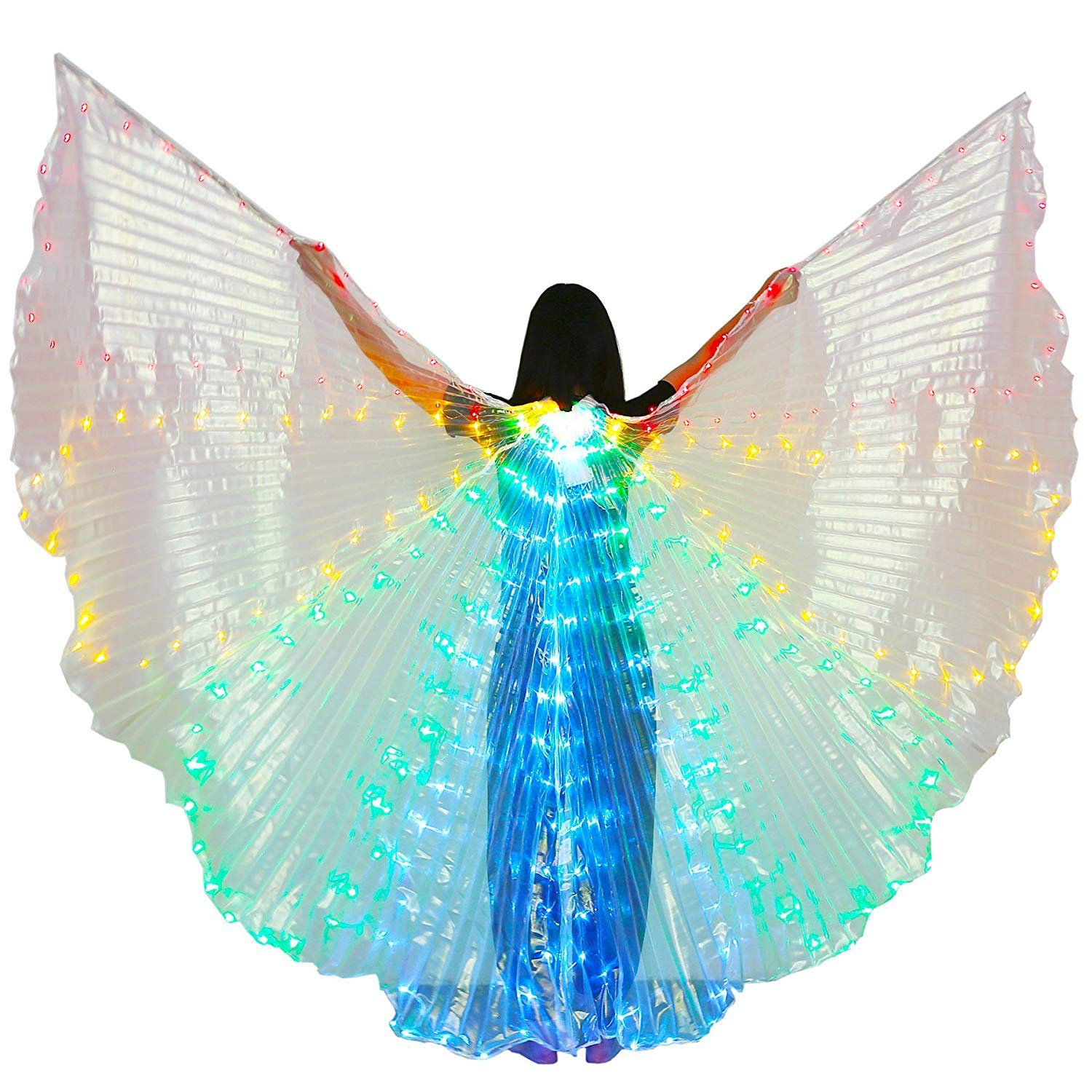 xiaoxiaoland εїз Belly Dance Wing with Rods-360 Degree Angel Wings with Portable Telescopic Sticks for Adults and Child,Red-yellow-green-blue by xiaoxiaoland