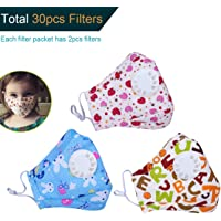 Doteonhome 3 Pack and 30pcs Filters N95 Mask for Kids with Valve Replaceable Filter Dustproof Mouth Mask