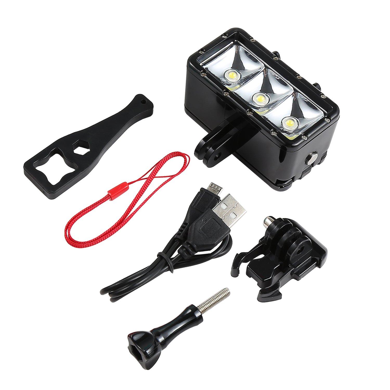 coorun LED flash regulable Buceo bajo el agua de luz 30/m impermeable de buceo Luz Kit de montaje potente para v/ídeos durante la noche y bajo el agua para GoPro resistente al agua intensidad regulable