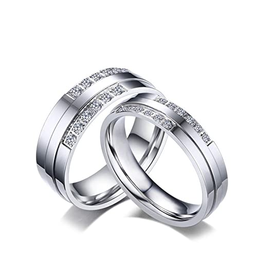 KnSam Venda de acero inoxidable Platino para pareja, Anillos de plata, banda de circonita