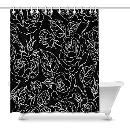 Image Unavailable Not Available For Color INTERESTPRINT Flower Leaves Black White Print Polyester Fabric Shower Curtain