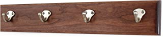 product image for Solid Cherry Wall Mounted Coat Rack with Satin Nickel Single Style Coat Hooks - Made in the USA