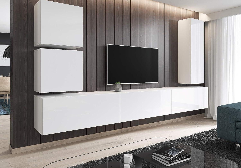 E-com - Mueble TV Salon Moderno Mesa Television Fay - 100 cm - Blanco