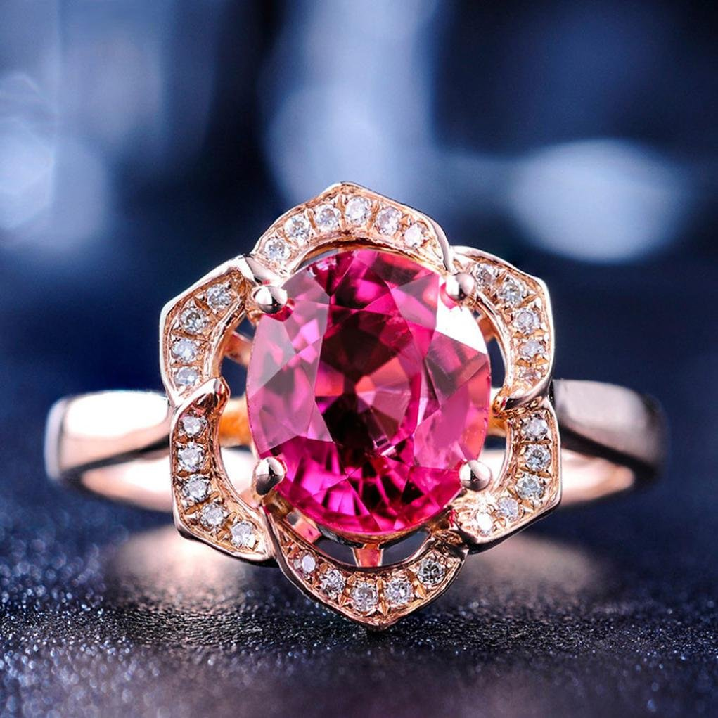SMALLE◕‿◕ Clearance,Flower Crystal Wedding Ring for Women Jewelry Accessories Rose Gold Gold Engagem by SMALLE◕‿◕ (Image #5)