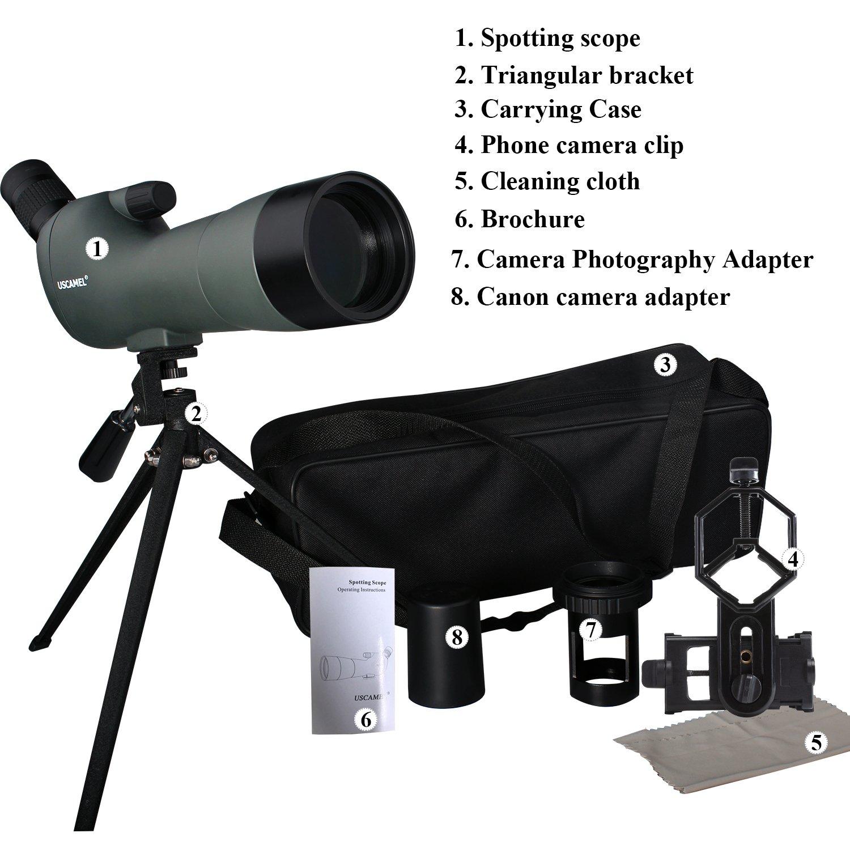 Fotografiar y Viajar Adecuado para Observar Aves USCAMEL 20-60X60 Telescopio Terrestre Profesional de Porro ampliador Visualizar Clip de C/ámara para Tel/éfono M/óvil y Kit de Fotograf/ía Canno