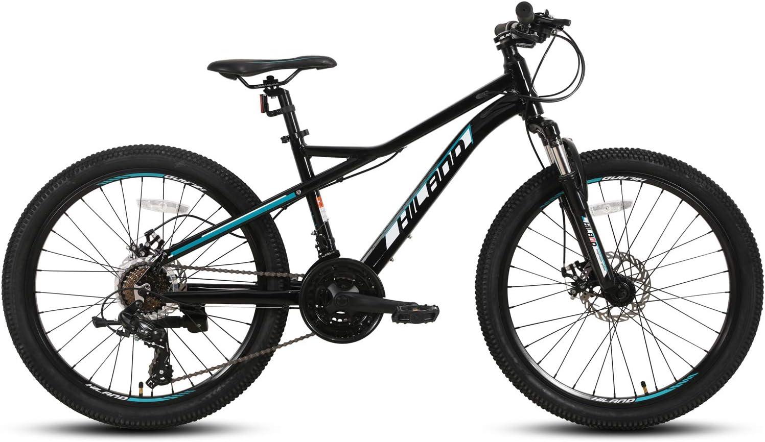 Hiland Bicicleta de montaña juvenil de 24/26/27,5 pulgadas, 21 velocidades, con horquilla de suspensión Urban Commuter City