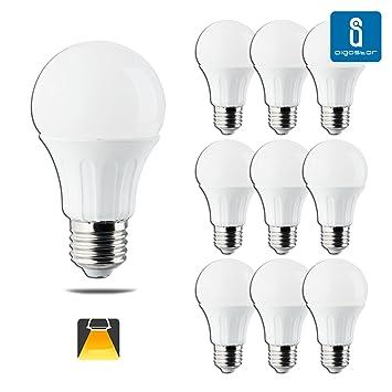 Aigostar - Bombillas LED A60B A5 Tamaño pequeño, 11 W, casquillo E27, 3000 K/6400 K [Clase de eficiencia energética A +] Confezione da 10 3000K: Amazon.es: ...