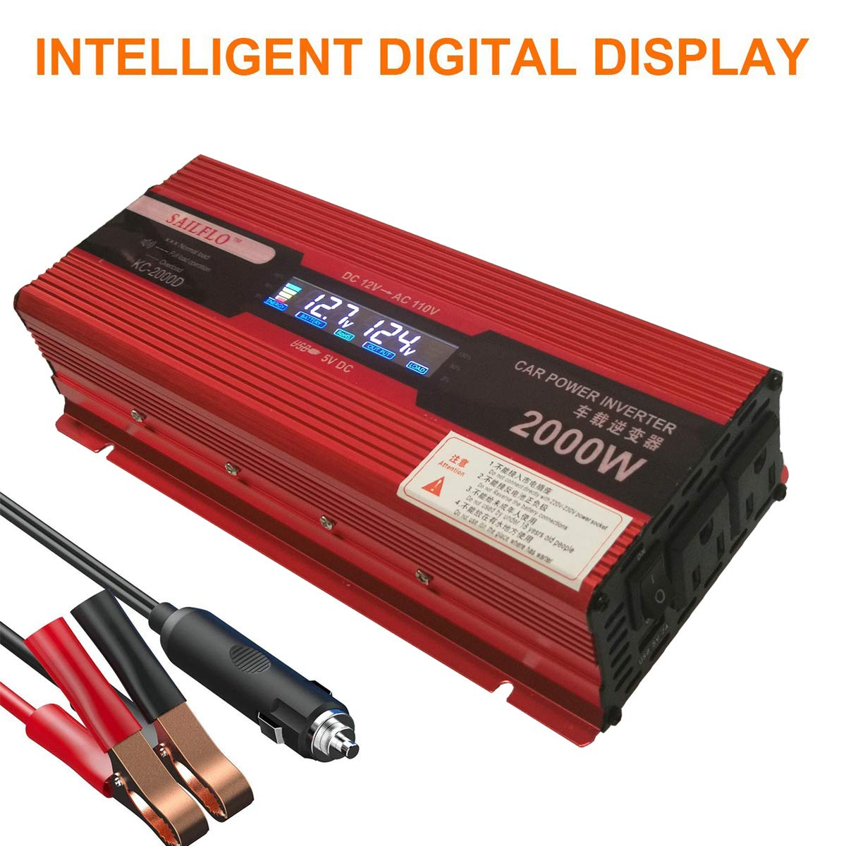 2000w 1000 Watts Continuous Power Inverter For Home How Does An Work In Rv Car With 2 Ac Outlets Converter 12v Dc To 110v Cigarette Lighter